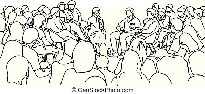 female teacher and students in the lecture hall vector illustration sketch doodle hand drawn with black lines isolated on white background