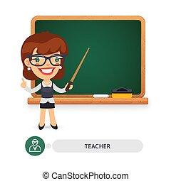 Female Teacher at the School Blackboard