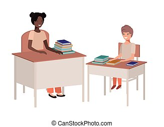 female teacher black in the classroom with student