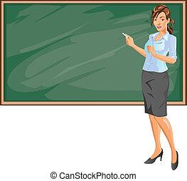 Female beautiful teacher explaining subject in class