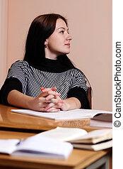 Female teacher in classroom
