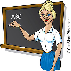 A cartoon image of a young female teacher with chalk in hand, standing in front of a blackboard.