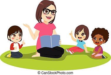 Female Teacher Kids - Young female kindergarten teacher ...