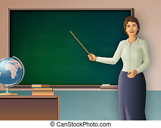 Female teacher pointing to a blackboard. Digital...