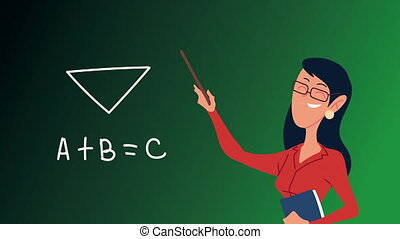 female teacher teaching in chalkboard character ,4k video ...