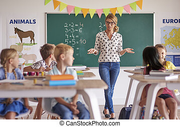 Female teacher with pupils in the classroom