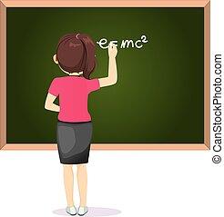 Female Teacher Writing GreenBoard