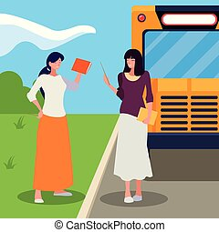 female teachers couple in stop bus characters