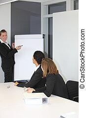 Female team leader giving a presentation