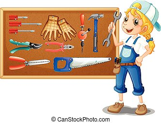 Female technician with many tools