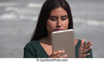 Female Teen Broken Tablet