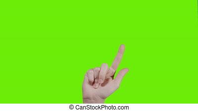 female teen hand 15 gestures for transparent screen chroma ...
