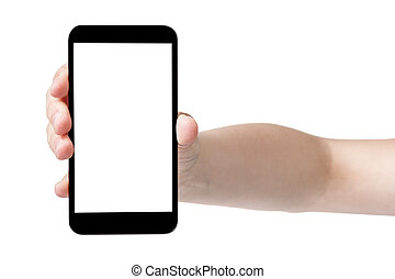 female teen hand showing generic touch device, isolated in...