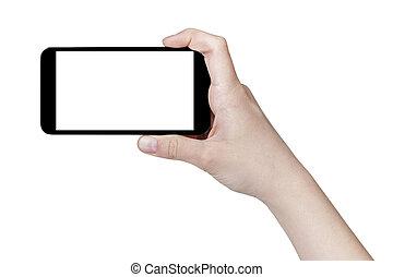 female teen hand taking photo with generic smartphone