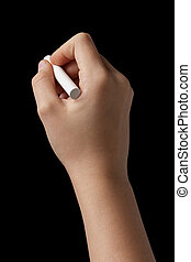 female teen hand with chalk to write something, isolated on ...