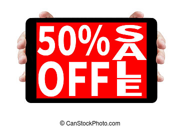 female teen hands showing tablet pc with sale offer