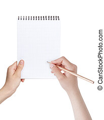 female teen hands writing something in notepad