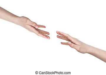 female teen helping hands