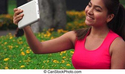 Female Teen Tablet Selfy