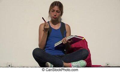 Female Teenage Student Thinking