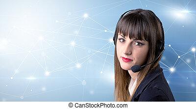 Female telemarketer concept