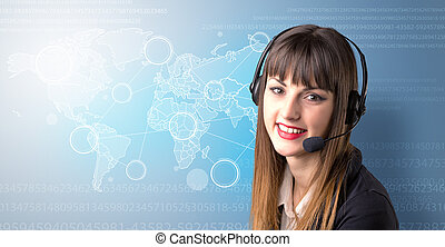 Female telemarketer concept - Young female telemarketer with...