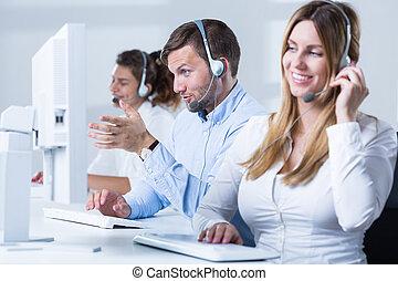 Female telemarketer during work