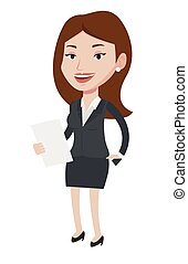 Female television anchorwoman vector illustration. -...