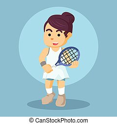 female tennis player colorful
