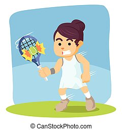 female tennis player hit the ball