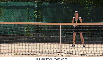 Female Tennis Player On The Court Slow Motion