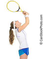 Female tennis player rejoicing in success