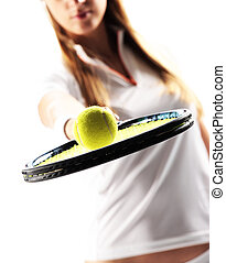 Female Tennis Player on white background