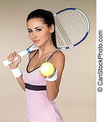 Female tennis player - Beautiful female tennis player on...