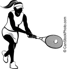 Female Tennis Player - Vector illustration in the silhouette...