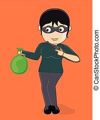 Female Thief with Gun and Money Bag