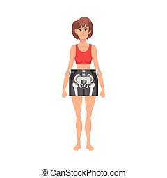 Female Thigh Bone Front View Roentgen Vector Illustration. Radiographic Procedure Concept. Woman in Hospital Making X-ray