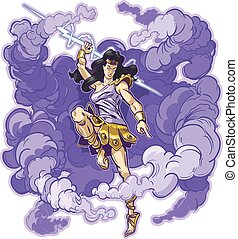Female Thunder Goddess or Titan - Vector clip art cartoon...