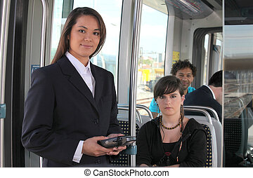 Female ticket inspector on a tram