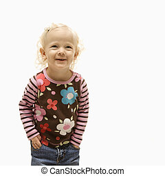 Female toddler laughing. - Young Caucasian female toddler...