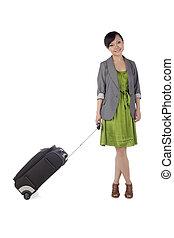 female tourist arriving
