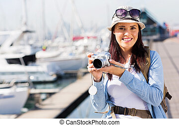 female tourist at the harbour