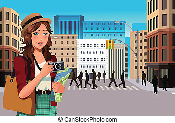 Female tourist in the summer - A vector illustration of...