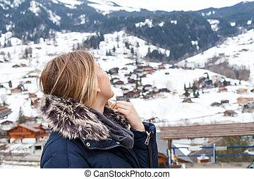 Female tourist in the swiss alps