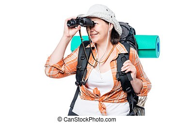 female tourist looking in binoculars on a white background