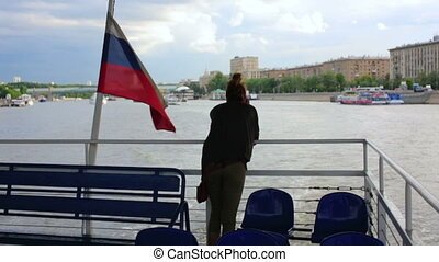 Female tourist on boat trip, moscow