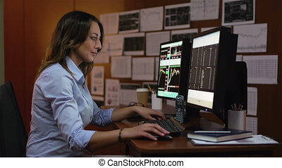 Female Trader - Elegant trader observing the stock market...