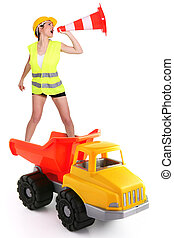 Female traffic guard yelling into a traffic cone and riding a truck