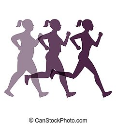 Jogging weight loss woman - Female transformation vector...
