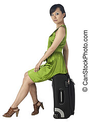 female traveler with luggage